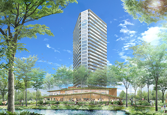 Conceptual drawing of completed (tentative) Kita-Aoyama 3-chome District Redevelopment Private Venture Project